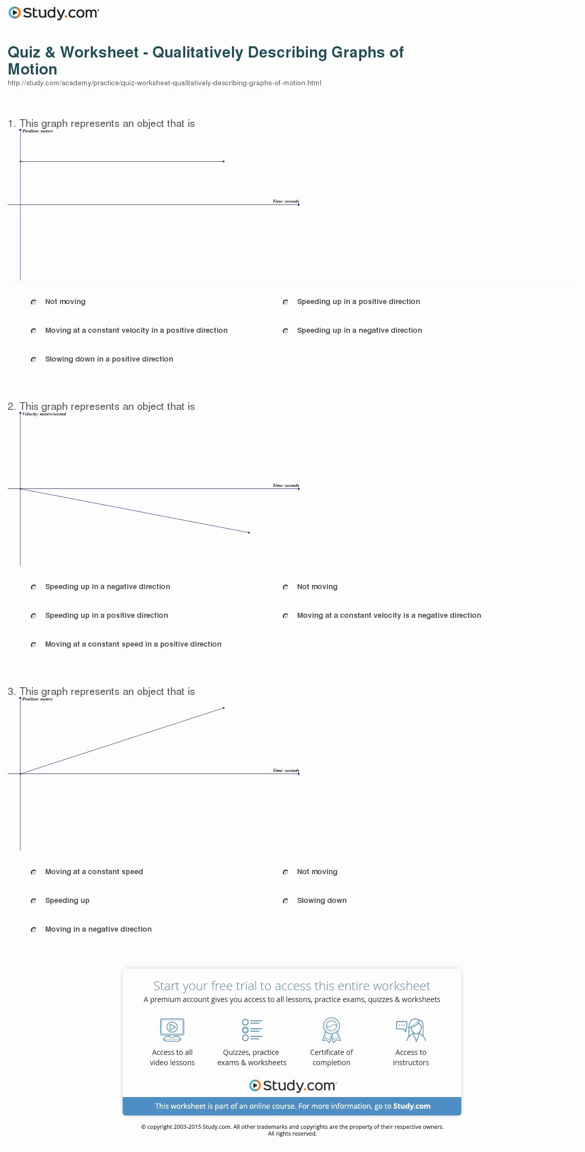 Motion Graph Analysis Worksheet Inspirational Quiz & Worksheet Qualitatively Describing Graphs Of