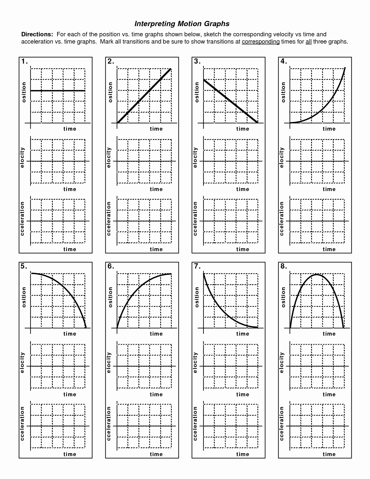 Motion Graph Analysis Worksheet New Kinematics Motion Graph Worksheets the Best Worksheets