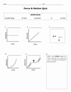 Motion Graphs Physics Worksheet Best Of Motion Review Worksheet Distance Time Graphs