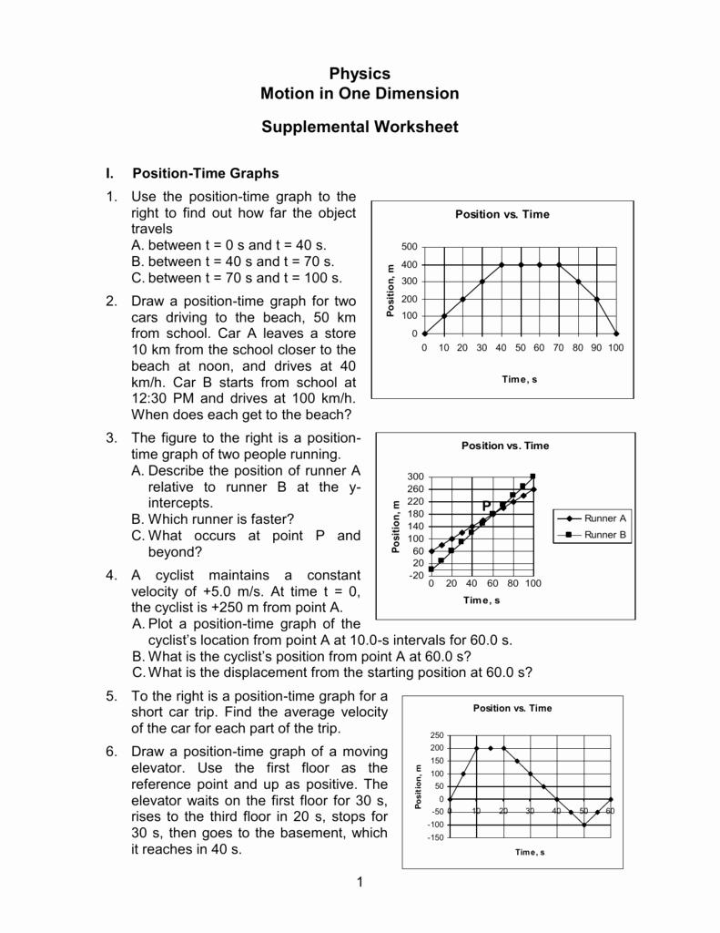 Motion Graphs Physics Worksheet Lovely Motion In 1 D Worksheet