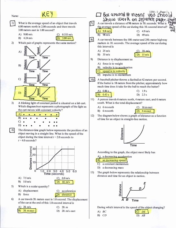 Motion Graphs Physics Worksheet Luxury Key Motion Graphs 25 Multiple Choice Questions Physics