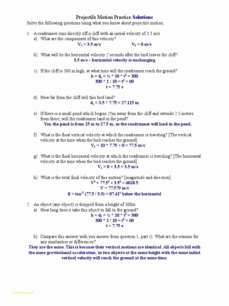 Motion Graphs Worksheet Answer Key Elegant Projectile Motion Worksheet Answers the Physics Classroom