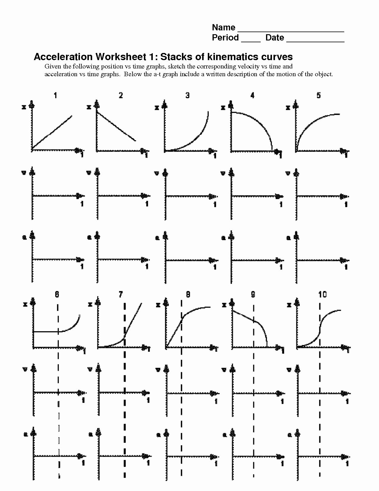 Motion Graphs Worksheet Answer Key Inspirational Kinematics Motion Graph Worksheets the Best Worksheets