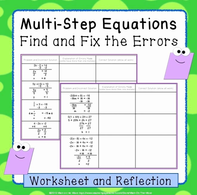 Multi Step Equations Worksheet Pdf Best Of Multi Step Equations with Variables Both Sides