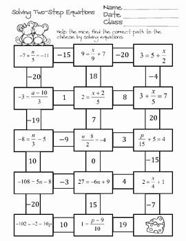 Multi Step Equations Worksheet Pdf Best Of solving Two Step Equations Maze by Ayers Math Flairs