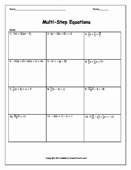 Multi Step Equations Worksheet Pdf Elegant solving Equations Multi Step Equations with Fractions