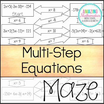 Multi Step Equations Worksheet Pdf Fresh solving Multi Step Equations Maze by Amazing Mathematics