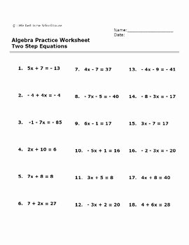 Multi Step Equations Worksheet Pdf Inspirational Algebra Practice Worksheet Two Step Equations with