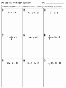 Multi Step Equations Worksheet Pdf Lovely Two Step Equations Quiz or Worksheet Includes Word