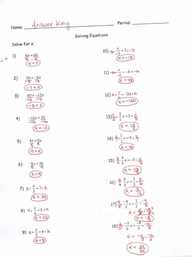Multi Step Equations Worksheet Pdf Luxury 2 Step Equations Worksheet