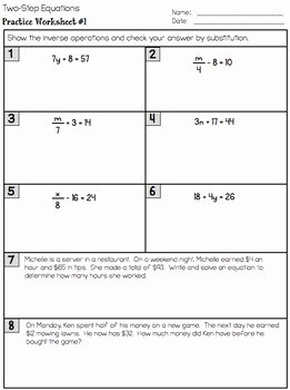 Multi Step Equations Worksheet Pdf Luxury Two Step Equations Interactive Notes Worksheet and