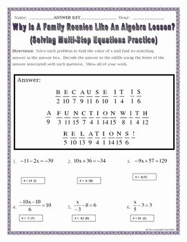 Multi Step Equations Worksheet Pdf Unique solving Multistep Equations Practice Riddle Worksheet by