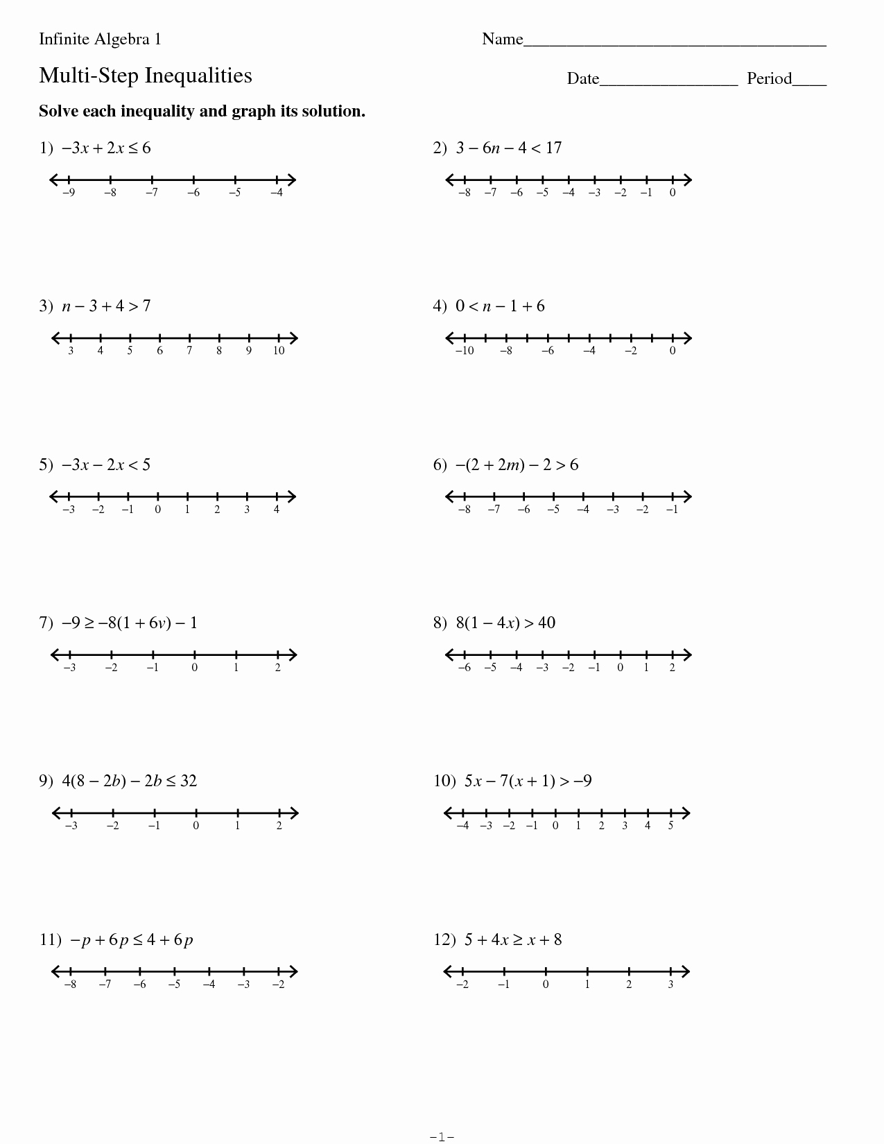 Multi Step Inequalities Worksheet Best Of 15 Best Of Kuta Algebra I Worksheets Pre Algebra