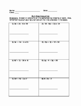 Multi Step Inequalities Worksheet Inspirational 8th Grade Math Multi Step Inequalities Worksheet by L Anne