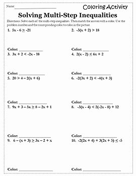 Multi Step Inequalities Worksheet Inspirational solving Inequalities Coloring Activity solving