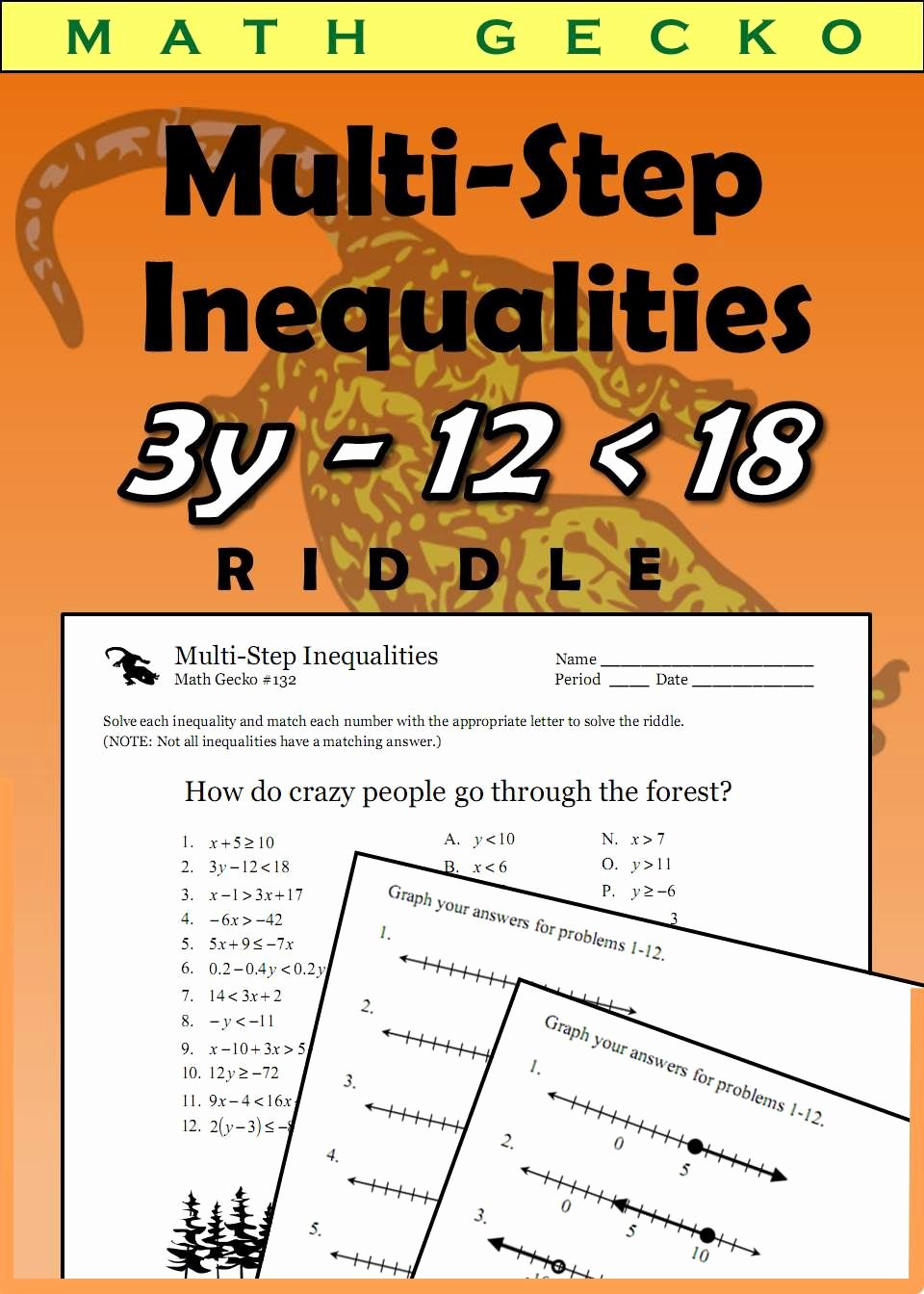 Multi Step Inequalities Worksheet Lovely 132 Multi Step Inequalities Riddle Math