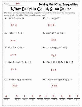 Multi Step Inequalities Worksheet Lovely Algebra Winter solving Inequalities Activity solving