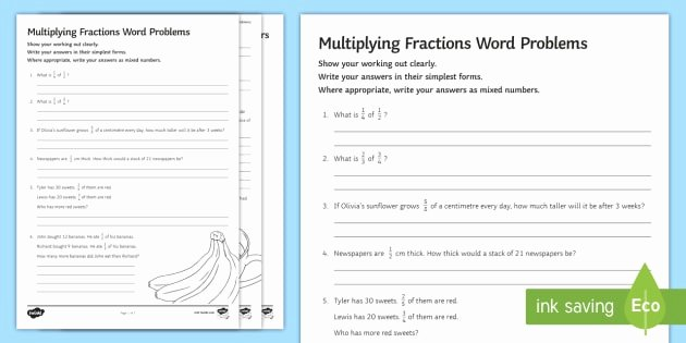 Multiplication Fraction Word Problems Worksheet Beautiful Multiplying Fractions Word Problems Worksheet Activity