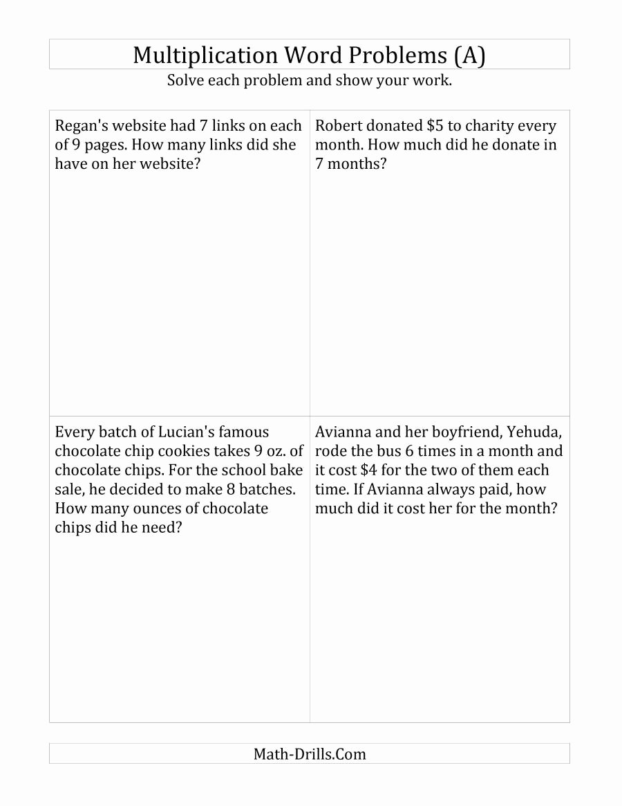 Multiplication Fraction Word Problems Worksheet Luxury Single Step Multiplication Word Problems Up to 10 X 10 A