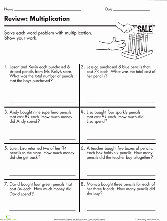 Multiplication Fraction Word Problems Worksheet New at the Store Multiplication Word Problems