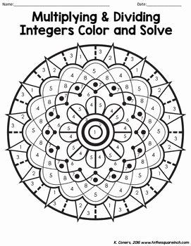Multiplication Of Integers Worksheet Elegant Multiplying and Dividing Integers Color and solve