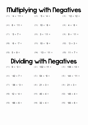 Multiplication Of Integers Worksheet Fresh Multiplying and Dividing with Negatives by T0md3an