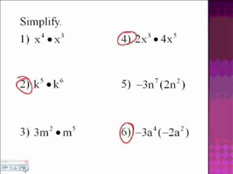Multiplication Properties Of Exponents Worksheet Awesome 8 1 Multiplication Properties Of Exponents Part 1 Wmv