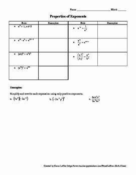 Multiplication Properties Of Exponents Worksheet Awesome Properties Of Exponents Worksheet with Puzzle by Leffler S