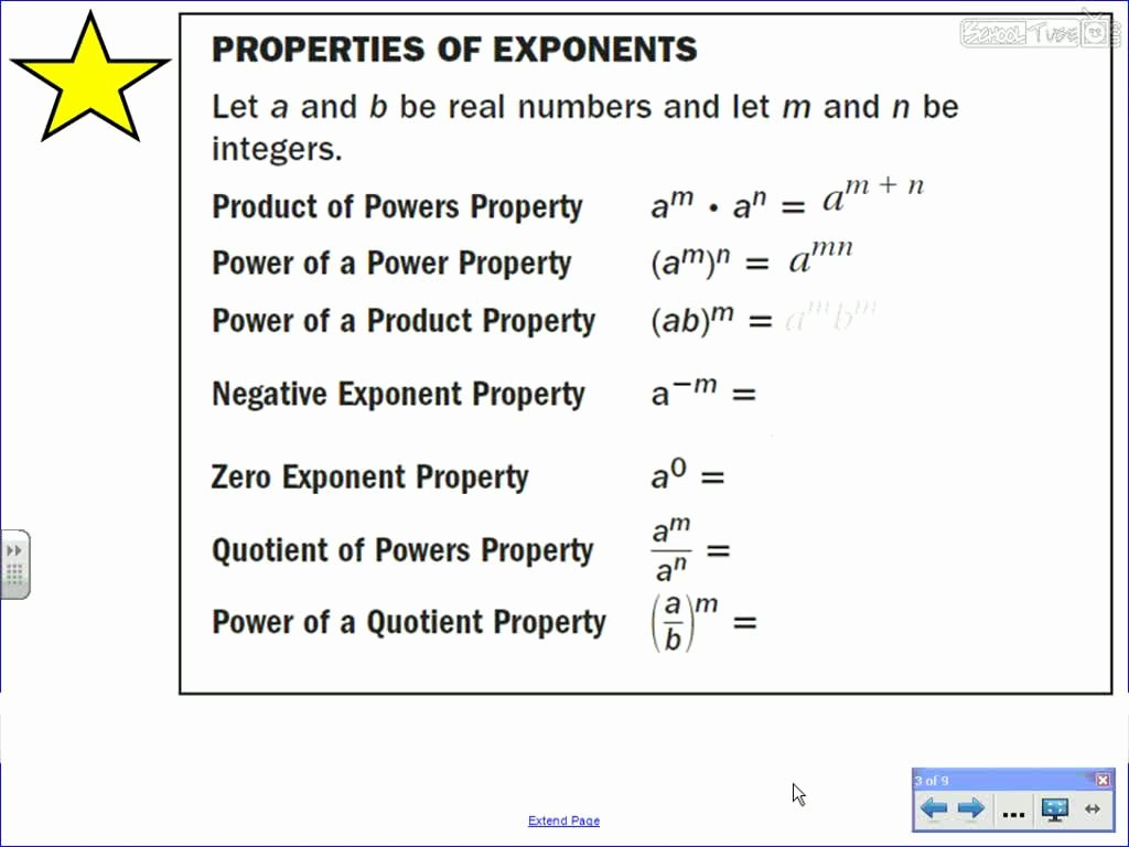 Multiplication Properties Of Exponents Worksheet Inspirational Properties Of Exponents Schooltube