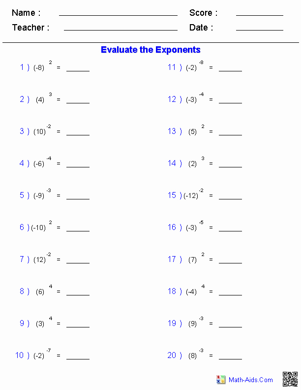 Multiplication Properties Of Exponents Worksheet New Exponents and Radicals Worksheets