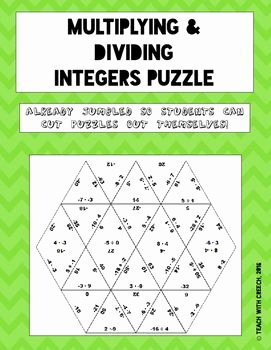 Multiply and Divide Integers Worksheet Best Of Multiplying and Dividing Integers Puzzle