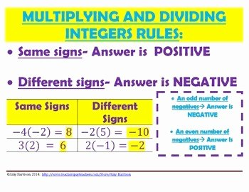 Multiply and Divide Integers Worksheet Fresh Multiplying and Dividing Integers Bundle by Amy Harrison