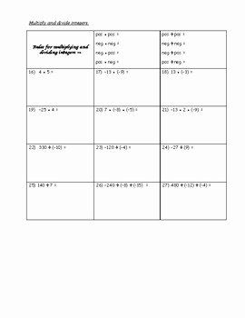 Multiply and Divide Integers Worksheet Inspirational Integer Worksheet Tables with Steps Add Subtract