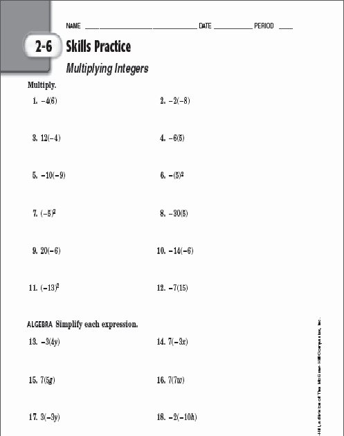 Multiply and Divide Integers Worksheet Unique Multiplying Integers Worksheet