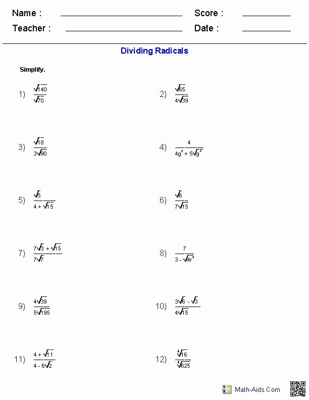 Multiply Radical Expressions Worksheet Beautiful 17 Images About Math Aids On Pinterest