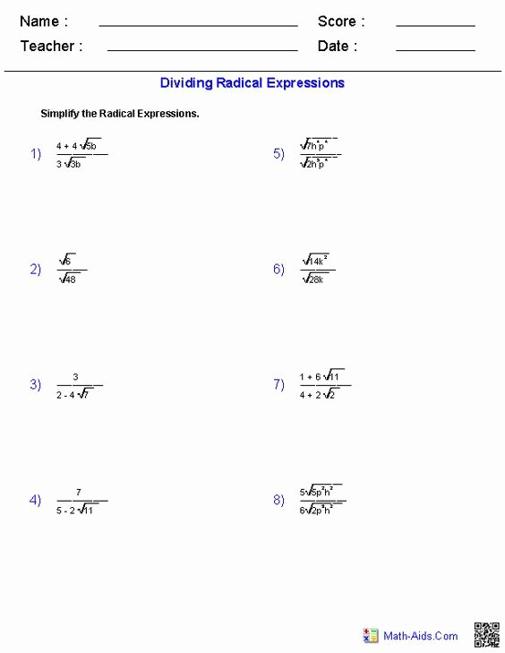 Multiply Radical Expressions Worksheet New Dividing Radical Expressions Worksheets