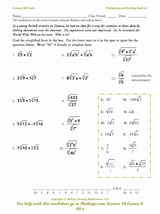 Multiply Radical Expressions Worksheet New Multiplying Radical Expressions Worksheet Answers