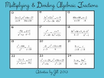 Multiply Rational Expressions Worksheet New Multiplying & Dividing Algebraic Fractions Rational