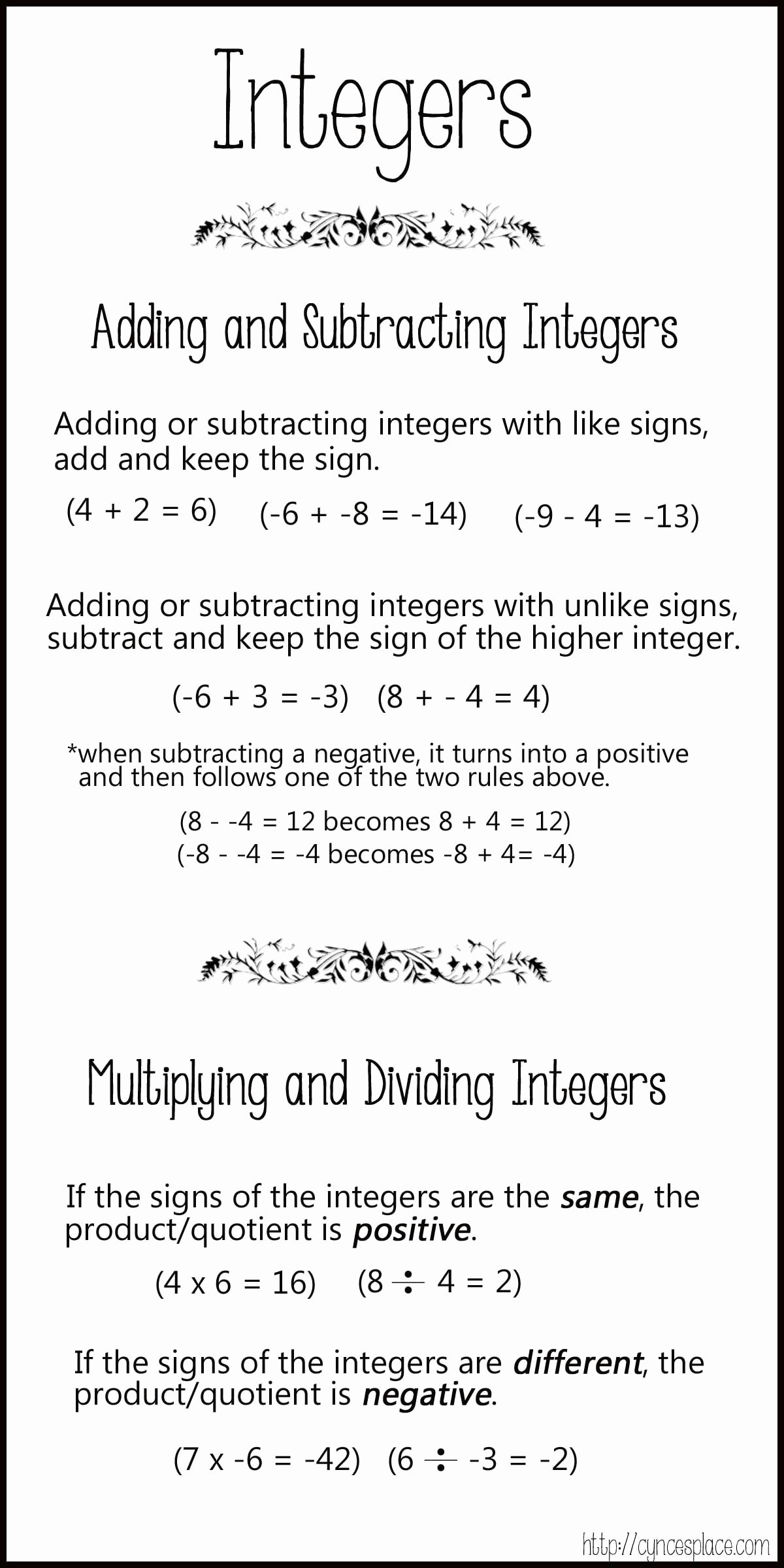 Multiplying and Dividing Integers Worksheet Elegant Adding Subtracting Multiplying and Dividing Integers Chart
