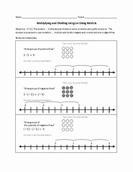 Multiplying and Dividing Integers Worksheet Elegant Multiplying and Dividing Integers Using Models by Amber