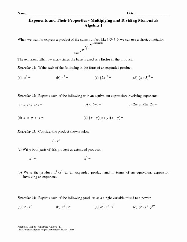 Multiplying and Dividing Monomials Worksheet Beautiful Exponents and their Properties Multiplying and Dividing