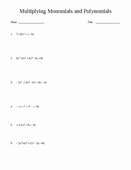 Multiplying and Dividing Monomials Worksheet Inspirational Multiplying Monomials and Polynomials Worksheet by Fun