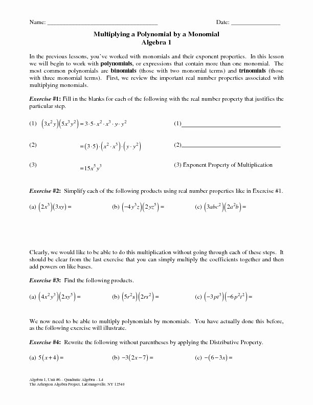 Multiplying and Dividing Monomials Worksheet Lovely Multiplying Polynomials by Monomials Worksheet for 9th