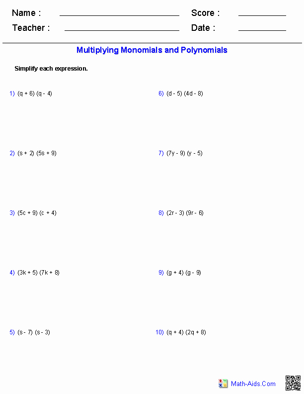 Multiplying and Dividing Monomials Worksheet Luxury Algebra Worksheet New 135 Algebra Worksheets Multiplying