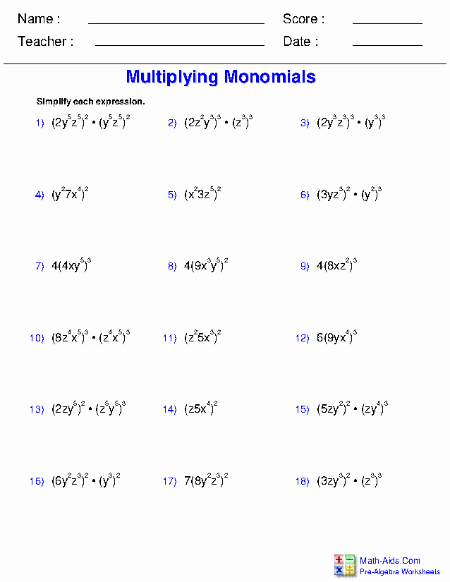 Multiplying and Dividing Monomials Worksheet Luxury Pre Algebra Worksheets