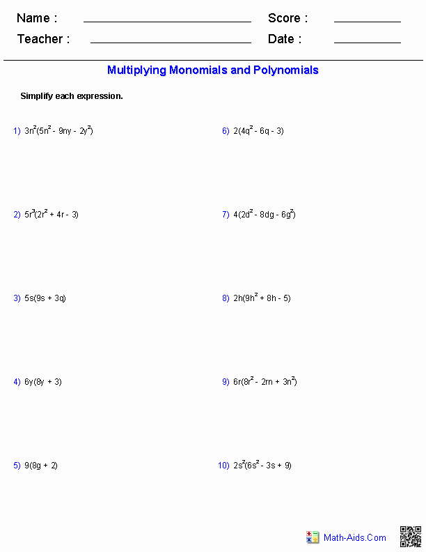 Multiplying and Dividing Monomials Worksheet New Algebra 1 Worksheets