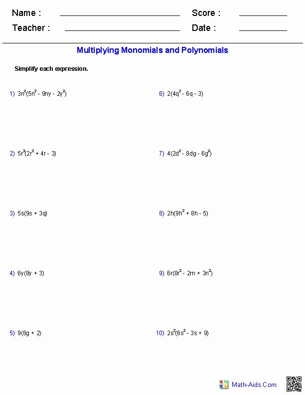 Multiplying and Dividing Monomials Worksheet New Algebra 1 Worksheets