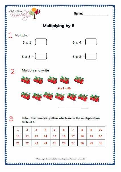 Multiplying by 6 Worksheet Best Of Grade 2 Maths Worksheets Part 1 2 More topics Lets