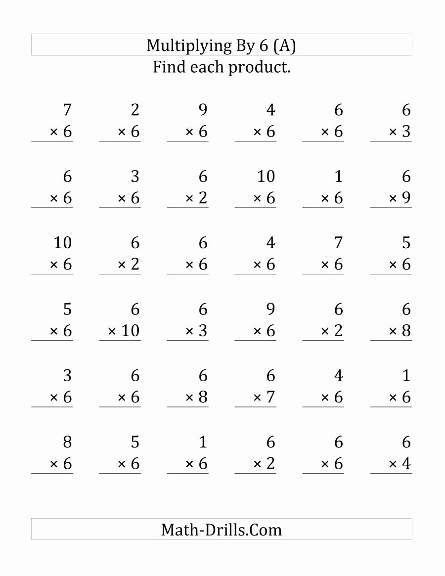Multiplying by 6 Worksheet Best Of Multiplying 1 to 10 by 6 36 Questions Per Page A