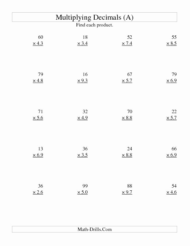 Multiplying by 6 Worksheet Best Of Multiplying Decimals Worksheet Two Digit whole by Two